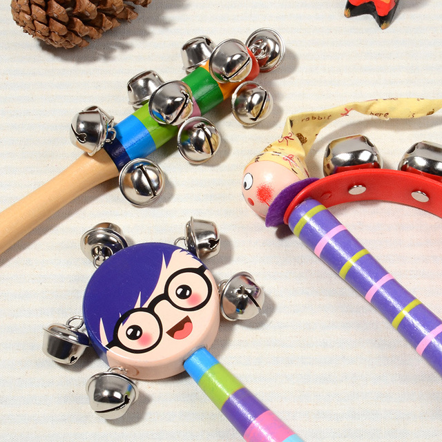 2018 New Arrival Wooden Shaking Handbell Rattle Sound Toy Musical Instrument Gift for Baby Kid Child Toys For Fun