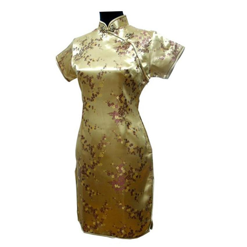 Online Shop Gold Chinese Women Traditional Dress Short Mini Qipao Cheongsam  Top Flower Plus Size S M L XL XXL XXXL 4XL 5XL 6XL MH-10  2b820d8e18a5