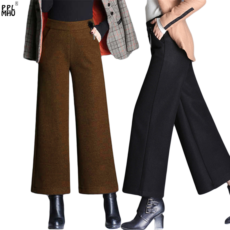 Plus Size 5XL Women Wool   Pants   Street Wear Fashion Elastic High Waist   Wide     Leg     Pants   Ladies Office Casual Autumn Winter Trousers