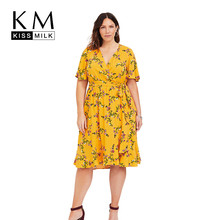 Kissmilk Plus Size Women Dress Sexy V-neck Wrap-style Ruffled Floral Print