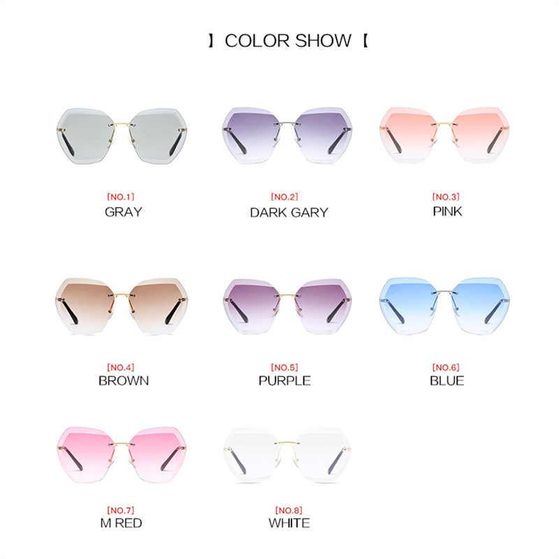 95ed6fd9b79 ... YOOSKE Rimless Sunglasses Women Brand Designer Diamond Cutting Lens Sun  Glasses Oversized Gradient Transparent Glasses Plastic