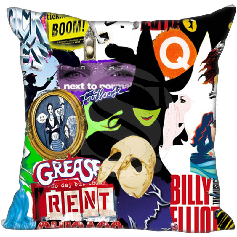 Custom Square Pillowcase Cool Broadway Movies Soft Pillow Cover Zippered &F Size 20X20cm,35X35cm,40x40cm