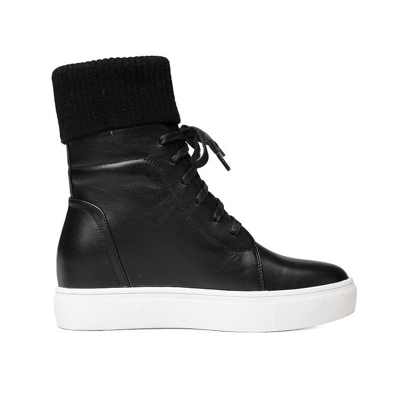 Mujer Nouveau Chaussures Beige Chaussette Bottes oi0508 L'intention Talons Botas Beige Hauteur Femmes Black Plat Croissante Plate Cheville Noir Casual En Oi0508 Cuir Initiale forme qZqxTaH