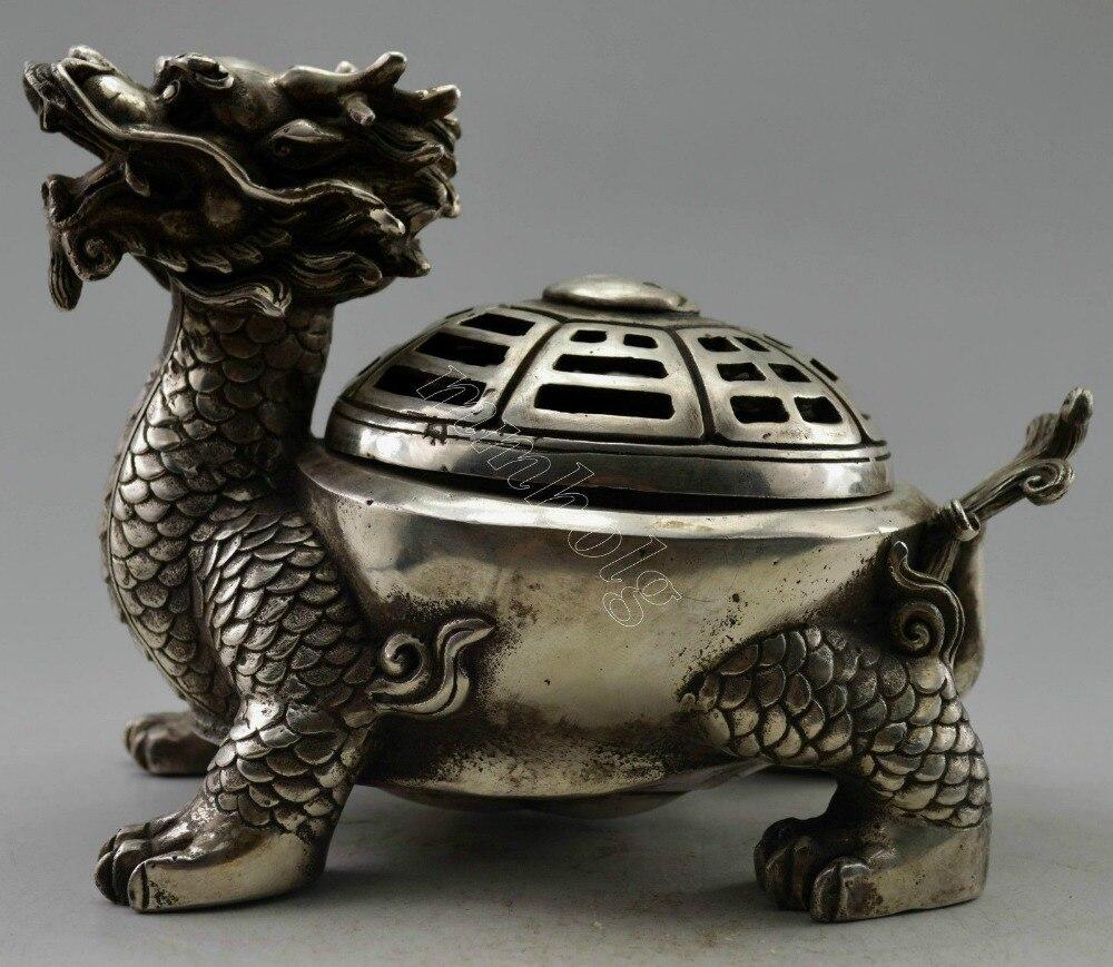 Brûleur d'encens en forme de Dragon argenté tibétain