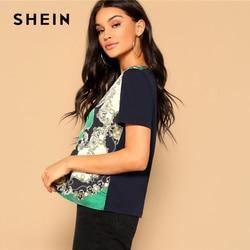 SHEIN Retro Multicolor Scarf Print Mixed Media Top Round Neck Short Sleeve Tee Tshirt Women Summer Streetwear Vintage T-shirts 2