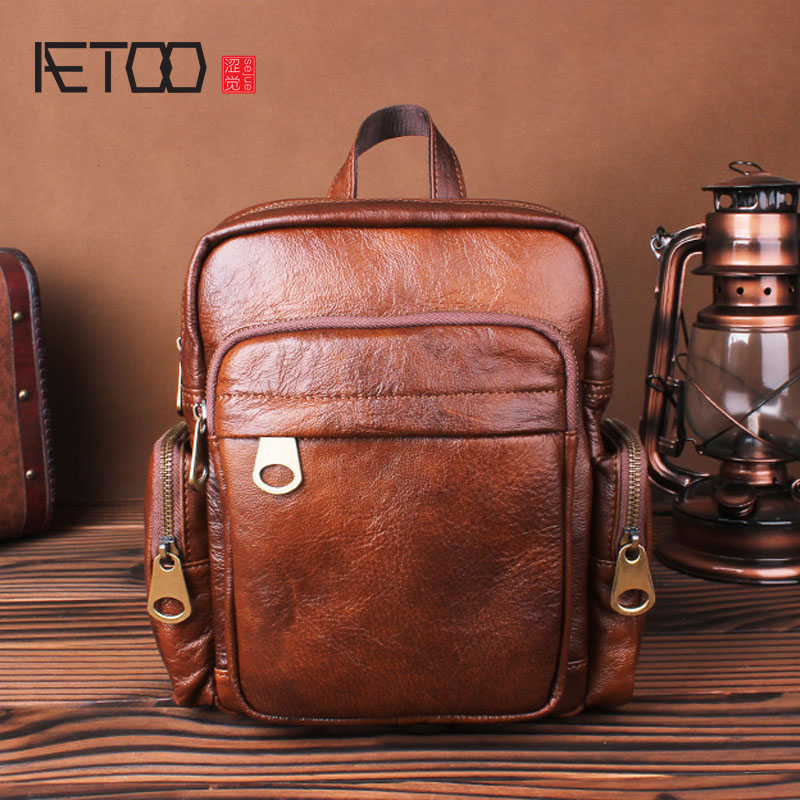 AETOO Leather shoulder bag small backpack head layer cowhide hand retro leisure simple young personality men and women bag aetoo women retro shoulder bag fashion handbags europe and america shoulder bag head layer cowhide mad horse shopping bag