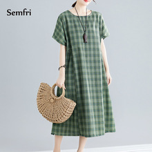 Semfri Plaid Dress Woman Summer Green Midi Dresses  Elegant Loose 2019 high quality Fashion Party Beach Boho Vestidos