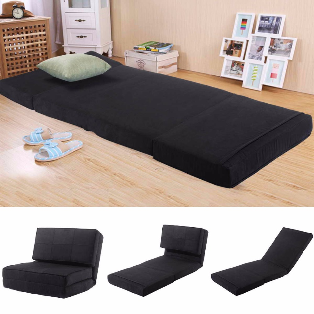 Goplus Suede Fold Down <font><b>Chair</b></font> Flip <font><b>Out</b></font> Lounger Convertible Sleeper Bed Couch Game Dorm Guest Sofa Living Room Sofa Bed HW52445BK