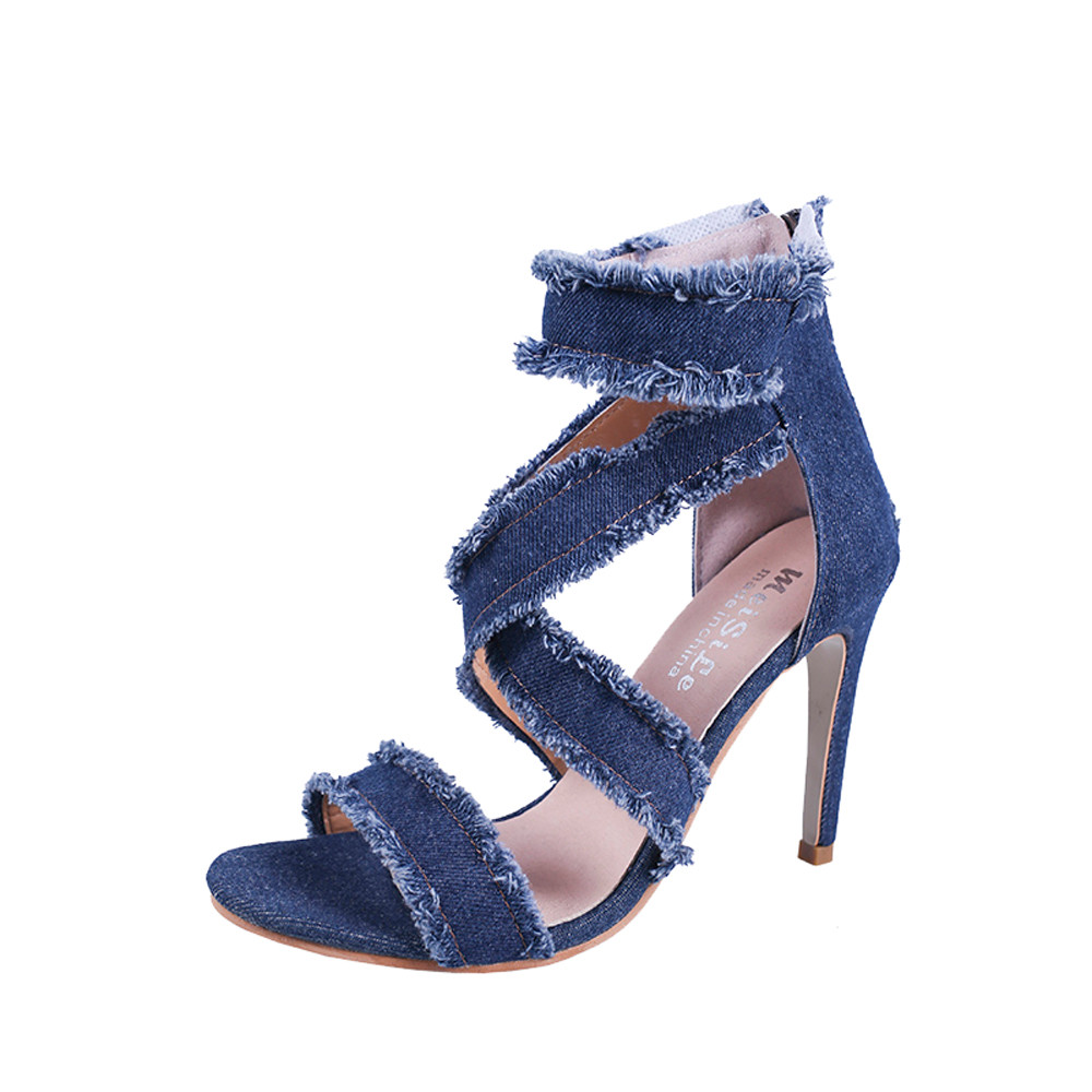 La Tacón Mezclilla Verano 2019 Puntiagudo Moda Mujer Pie Bien De Azul Zapatos Dedo Slip Cremallera Del Sandalias Alto Mujeres wqBw0R7f