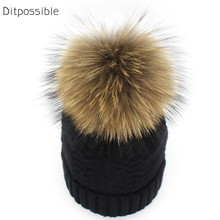Ditpossible knit wool hat women beanies real fur pom poms hats winter skullies bonnet gorro caps for women