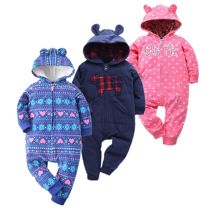 Fleece Baby Clothing Long Sleeve   romper   Baby Winter newborn Fleece Hooded Jumpsuit For baby winter fleece jumpsuit girl rom