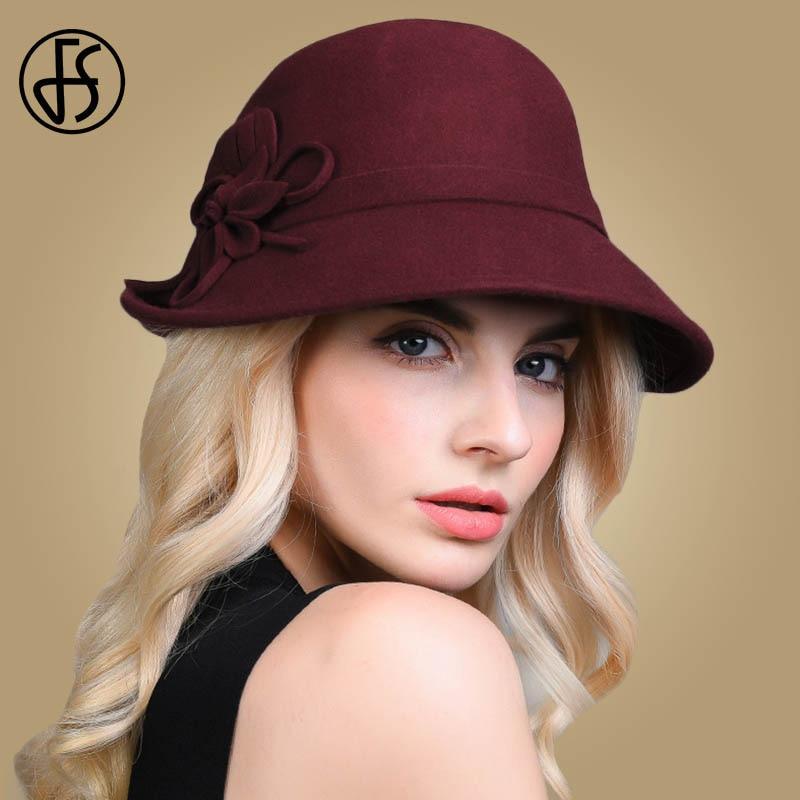 7f02147b FS 2019 NEW Elegant 100% Wool Felt Hat Women Autumn Winter Party Ladies  Formal Hats