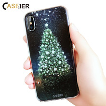 CASEIER Christmas Phone Case For iPhone X 6 6s 7 Plus Silicone 3D Cover 8 5 5s SE Tree Capa