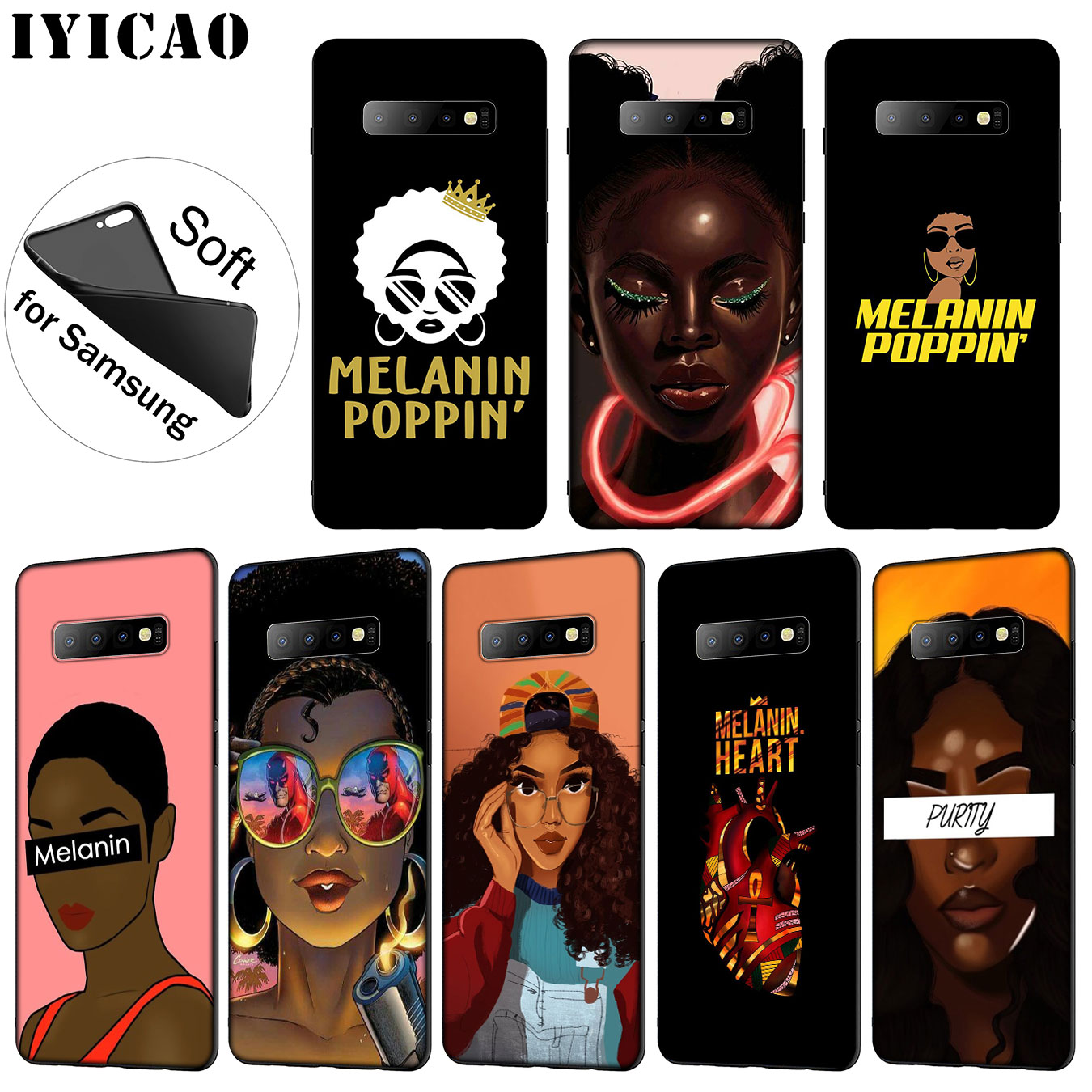 Fitted Cases Obedient Iyicao 2bunz Melanin Poppin Soft Silicone Phone Case For Samsung Galaxy S10 S9 S8 Plus S6 S7 Edge S10e E Tpu Black Cover Phone Bags & Cases
