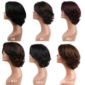 Image 5 - Perruque de cheveux synthétiques Bob perruques cheveux raides perruque courte pour les femmes naturel noir brun blond fête quotidien Cosplay perruques Amir