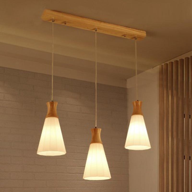 LukLoy Wood Lamp Kitchen Island Pendant Light Set of 3 on Bar Dining Room Hanging Lamp