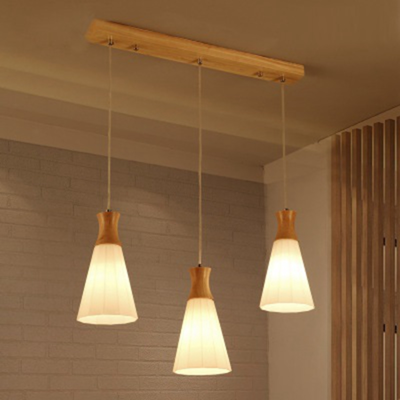 Kitchen Lighting Fixture Sets: LukLoy Wood Lamp Kitchen Island Pendant Light Set Of 3 On