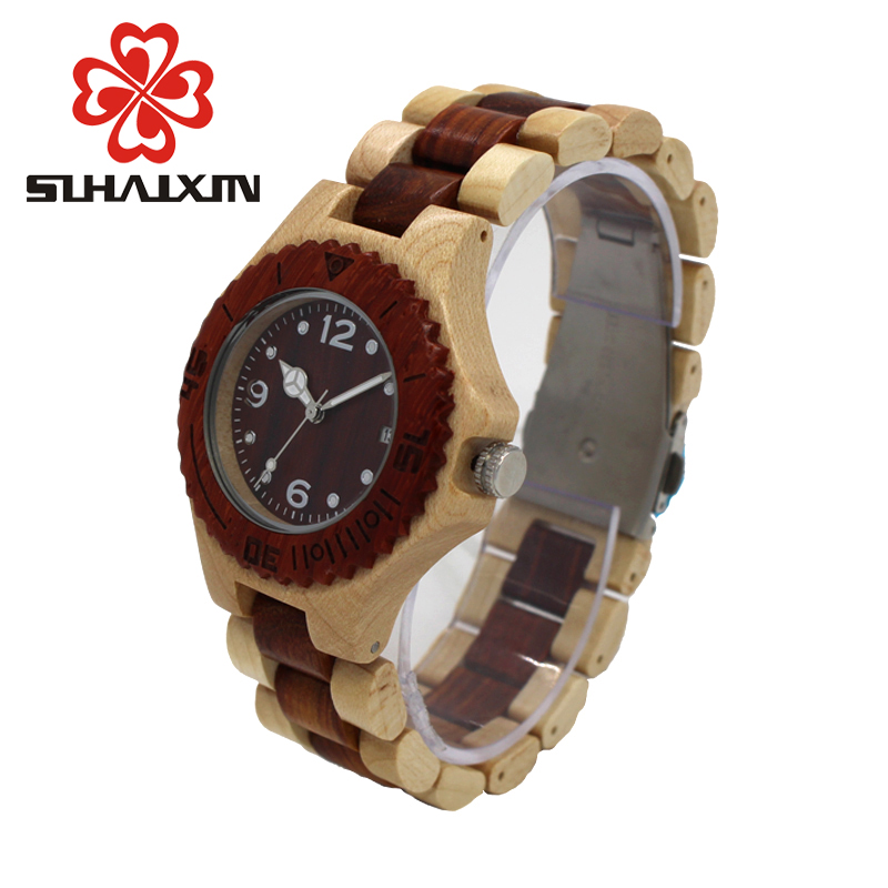 SIHAIXIN Wooden Clock Woman Wood Watch Ladies Complete Calendar Relogio Feminino Top Luxury Brand Lady Watches