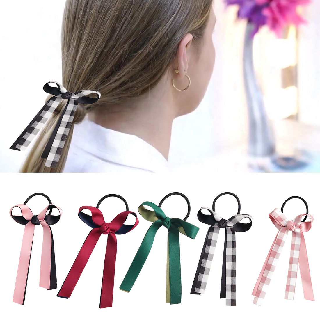 Humor Women Cute Hair Accessories Para El Pelo Plaid Bow Bowknot Elastic Hair Bands Tie Gum Ponytail Girls Headbands Hair Ropes Back To Search Resultsapparel Accessories