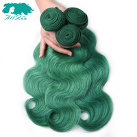 Allrun Malaysian Body Wave Hair Bundles Double Weft 3 Bundles Human Hair Extensions Non Remy Hair Weave 10 24 Dark Green Color