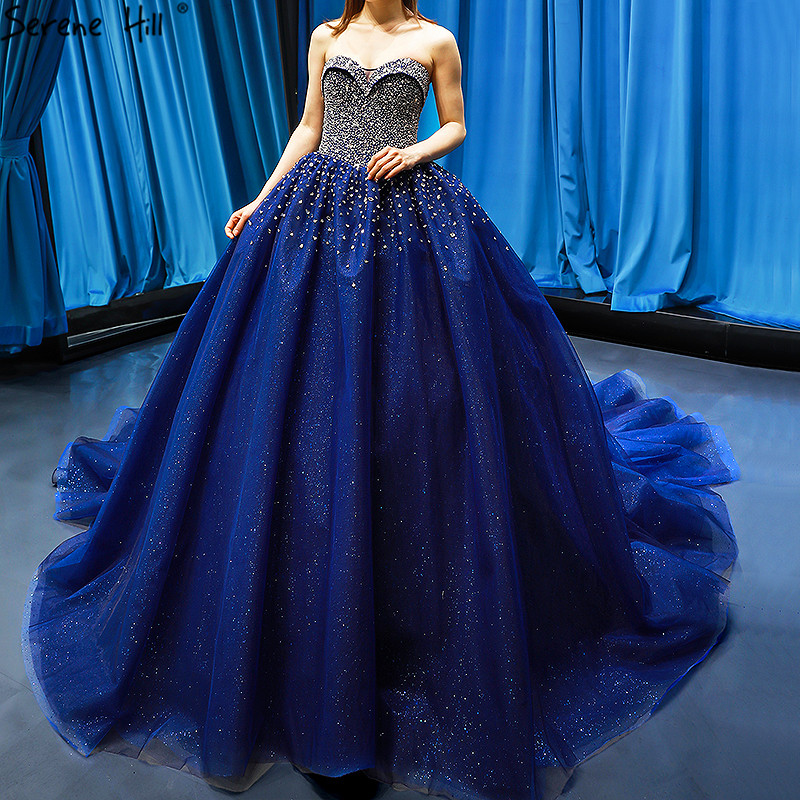 Blue Wedding Dresses 2019: Dubai Navy Blue Sleeveless Bling Wedding Dress 2019
