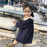 Vintage Kids girl dress Spring Summer Loose Casual Long Sleeve Dress Korean Style Clothing Elegant Children cotton linen cloth