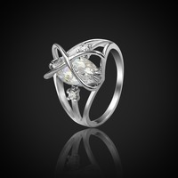 Romantic Promise Rings For Couples Female Size 5 6 Silver Color Crystal Infinity Symbol Ring Engagement