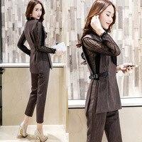 Belt Ladies Long Sleeve Suit Blazer Elegant Office Women Autumn Blazer 2017 Summer Fashion Leisure Work