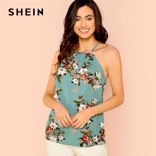 fd9eb01c5e SHEIN Button Keyhole Back Solid Shell Blouse Multicolor Floral Print  Sleeveless Tops Women Summer Casual Pullovers Blouses