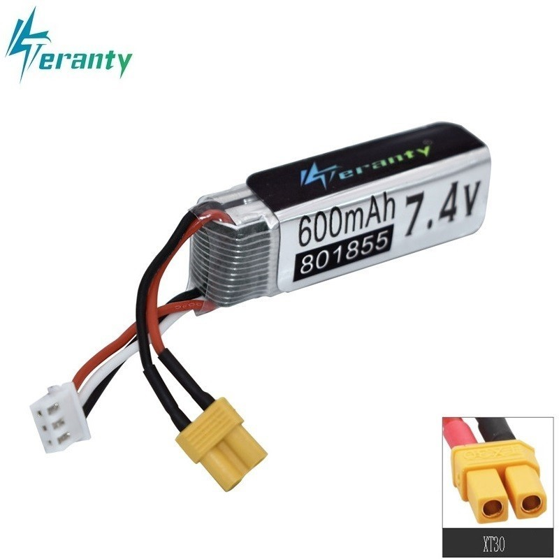 7.4V 600mAh <font><b>801855</b></font> Lipo Battery For XK K130 RC Six-way Brushless Aileron Helicopter Spare Parts Accessories 7.4v Drone Battery image