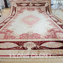 Yilong 14.2'x21′ Tabriz oriental silk rug large antique beige red Turkish silk carpet (1596)