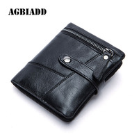 AGBIADD Genuine Leather Men Wallets Coin Pocket Credit Card Holder Hasp Man Wallet With Coin Pouch