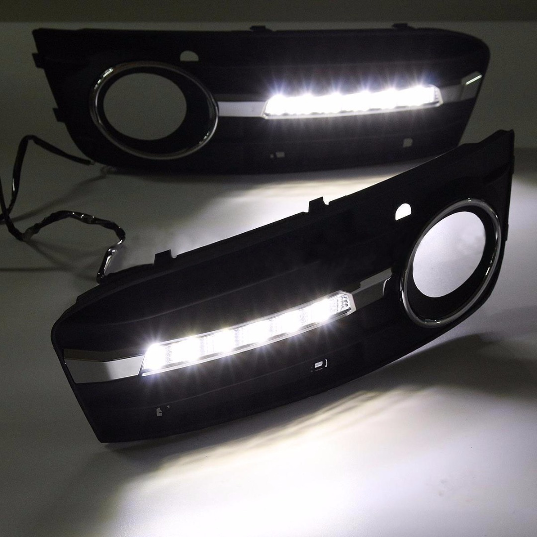 High Quality 1 Pair Car Fog Light Bezel Grille Cover Daytime Running Lamp For Audi A4 B8 2009 2010 2011 2012 high quality 1 pair right