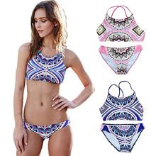 Women Female Retro Geometric  Printed Split Swimsuit Bohemia Swimwear Maillot De Bain Swimsuit Plavky Tankini Biquini Monokini
