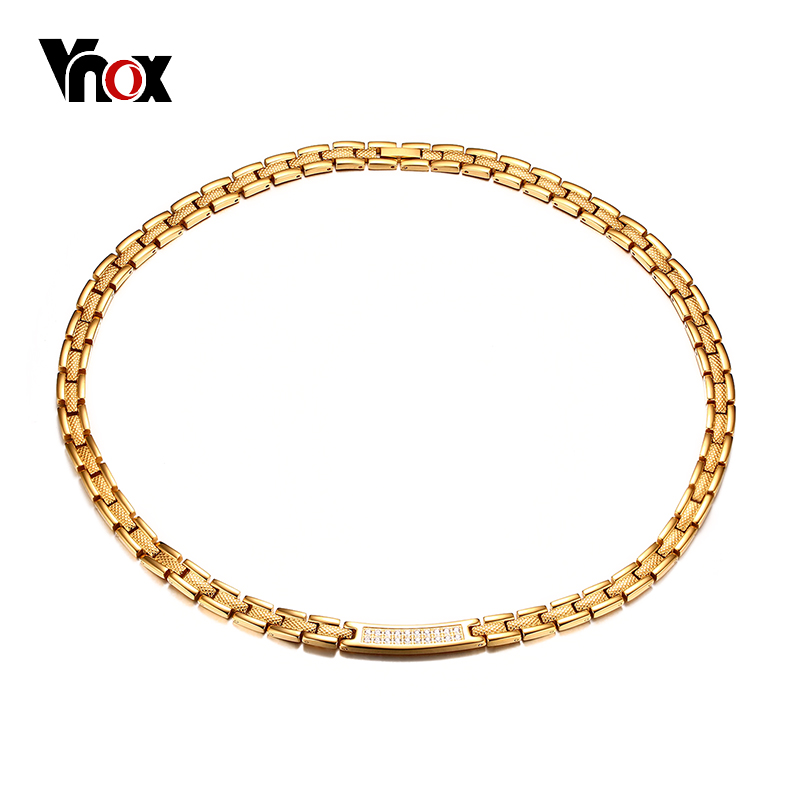 Vnox AAA CZ Stones Women Health Choker Necklace Magnetic Power Stainless Steel Energy Jewelry w/ Magnets Germanium цена 2017