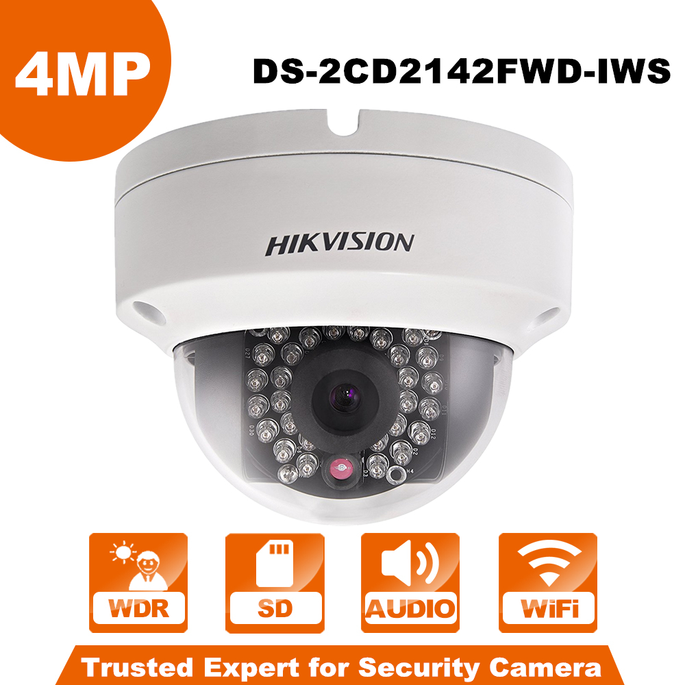 Wireless IP Camera Hikvision DS-2CD2142FWD-IWS 4mm 4MP WDR PoE Dome Cam security camera wifi monitor English Version upgradable free shipping english version ds 2cd2542fwd iws audio 4mp wdr mini dome network camera with wifi