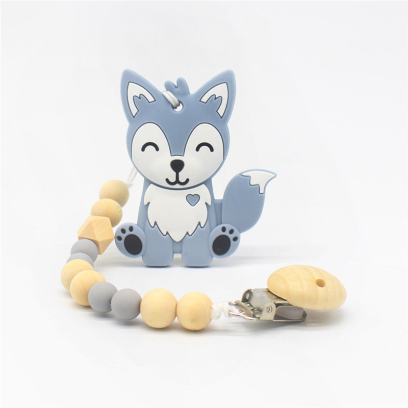 New Style Silicone Fox Teething Pendant Wood Pacifier Clip Chain Fox Teether Teething Toys Baby Teething Accessory Dental Care