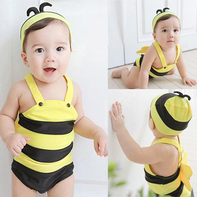 Bebê swimwear abelha dos desenhos animados padrão meninas swimwear com chapéus do bebê SPA fatos de banho da criança meninos maiôs bonito roupas infantis