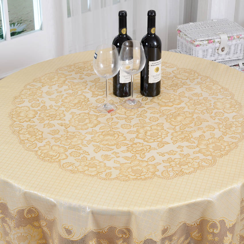 Diameter 180cm Gold Wedding PVC Table Cloth Embossing Floral Round Lace  Tablecloth Waterptoof And Oilproof Plastic Table Covers In Tablecloths From  Home ...