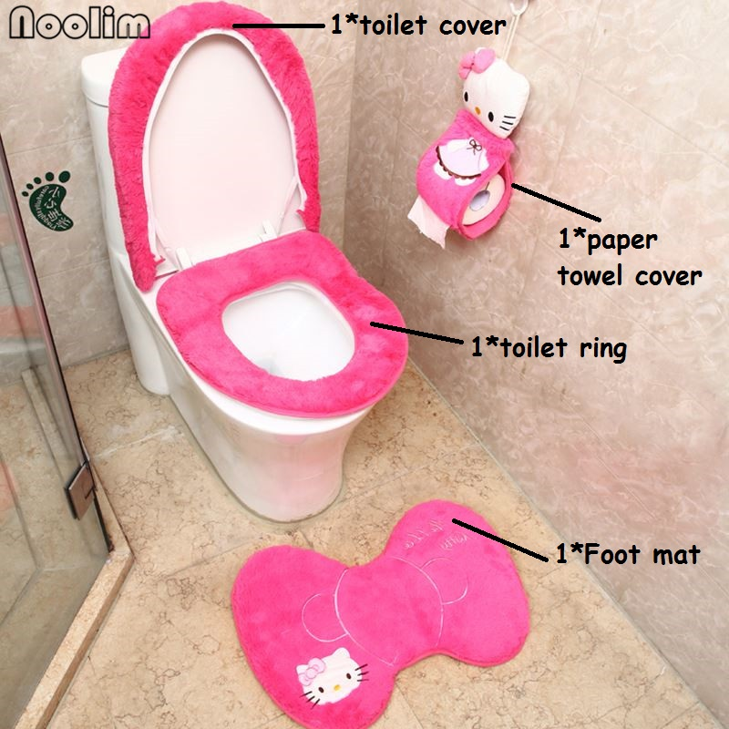 Hello Kitty Potty Chair Unique Desk 4pcs Set Bathroom Toilet Seat Cover Wc Bath Mat Holder Closestool Lid Christmas Home Decor In Covers From