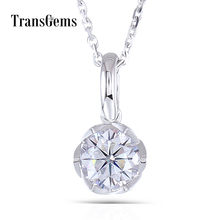 Transgems 14K White Gold 585 6.5MM 1 Carat F Color Moissanite Round Brilliant Cutting Flower Shaped Pendant Necklace for Women