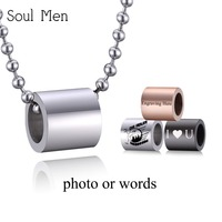 Soul Men Custom Personalized Photo Name Charms Blank Necklace Pendant Stainless Steel Ball Chain Silver Black