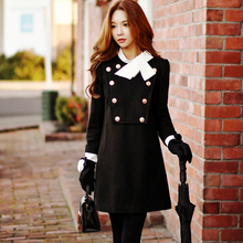 dabuwawa autumn and winter dress women fashion casual army style double breasted stand colloar bow a-line dresses pink doll