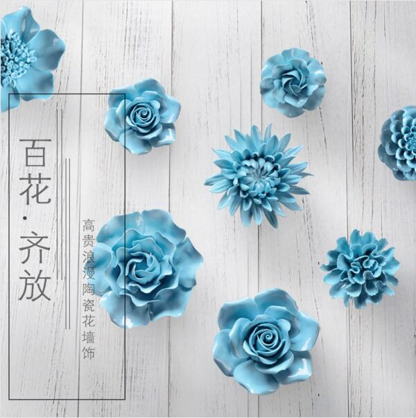Diy 2017 ceramic flower wall hanging adornment household for Arts crafts home decoration