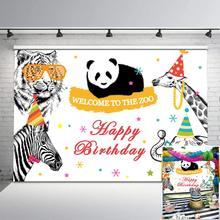 Animal Backdrop Zoo Children Birthday Photography Backdrops Panda Elephant Zebra Giraffe Kids Party Banner Background