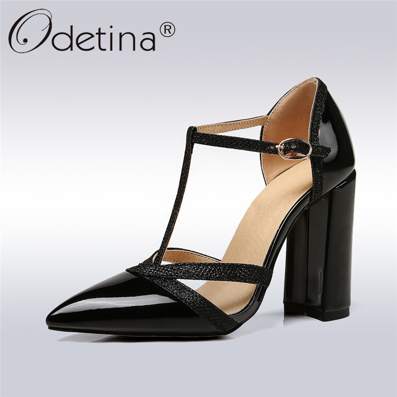 Odetina 2018 New Fashion Patent Leather Pumps Candy Color Shoes Pointed Toe Pumps T Strap Square Super High Heels Shoes Big Size stylish women s pumps with patent leather and t strap design