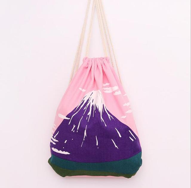 Drawstring Bag Strap canvas pink Color Women Shoulder Bag Designed Straps  for Backpack Bolsas Feminina Mount Fuji Drawstring Bag 6a477e8c2