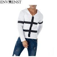 Envmenst New Hoodies Autumn Winter Male Sweatshirt Casual Pullover Hoody Jacket Coat Slim Patchwork Black White Color