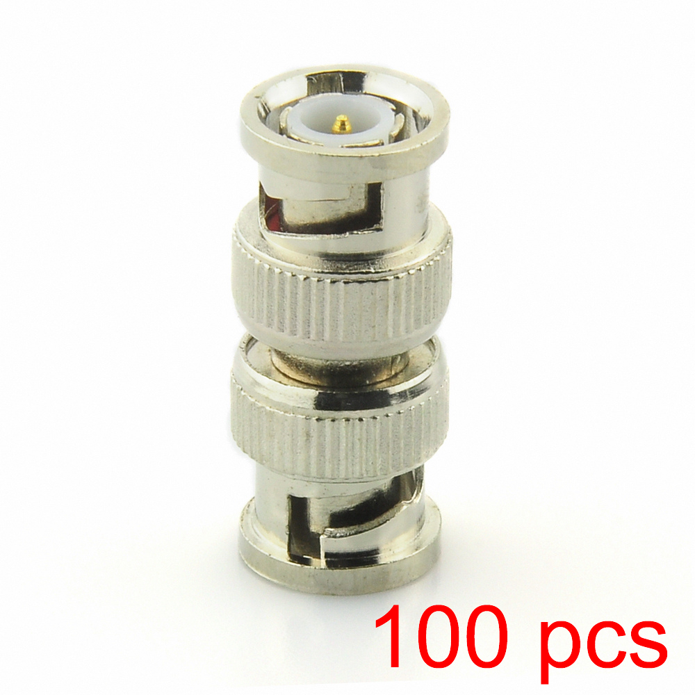 100x BNC Male To Male Adapter Connectors RG59 Coaxial Coupler For CCTV Camera