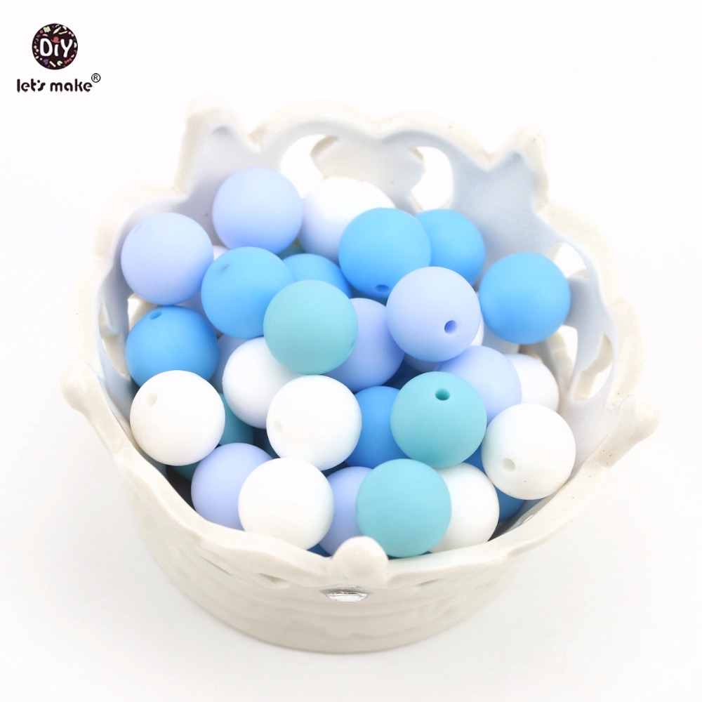 Lets make 10PC 12MM Blue Series BPA Free Food Grade Loose Silicone Beads DIY Bracelets Chewing Jewelry Accessorie Teethers